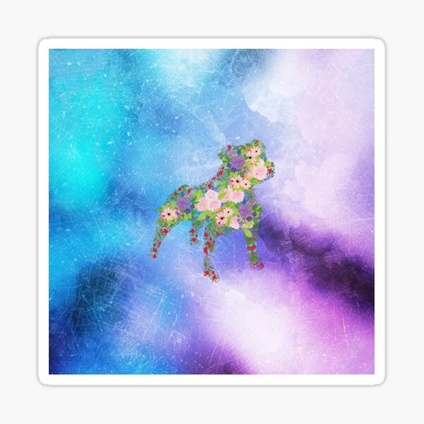 Distressed Watercolour Floral Staffordshire Bull Terrier Sticker