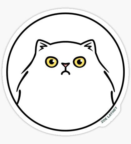 Angry White Persian Kitty Cat Sticker