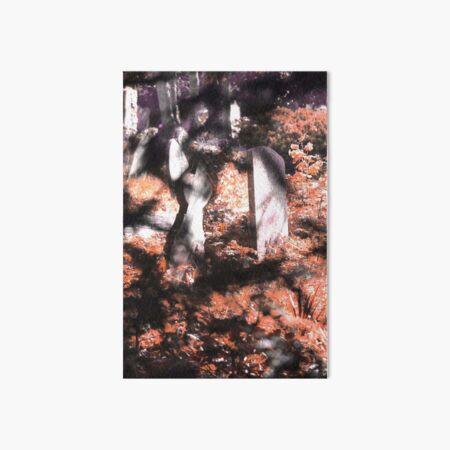 Misty graveyard in dappled sunlight Art Board Print
