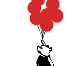Flying Balloon Bear - Off Center Version (Red) by merimeaux