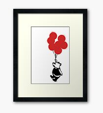 Flying Balloon Bear - Off Center Version (Red) Framed Print