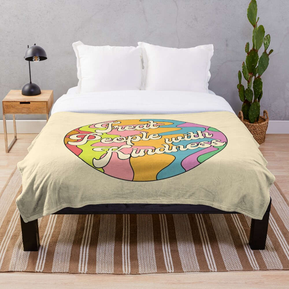 Groovy Treat 'Em With Kindness Design Throw Blanket