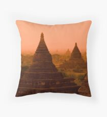 Stupas In The Mist Throw Pillow