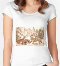 Snow day outing with the kitties Women's Fitted Scoop T-Shirt