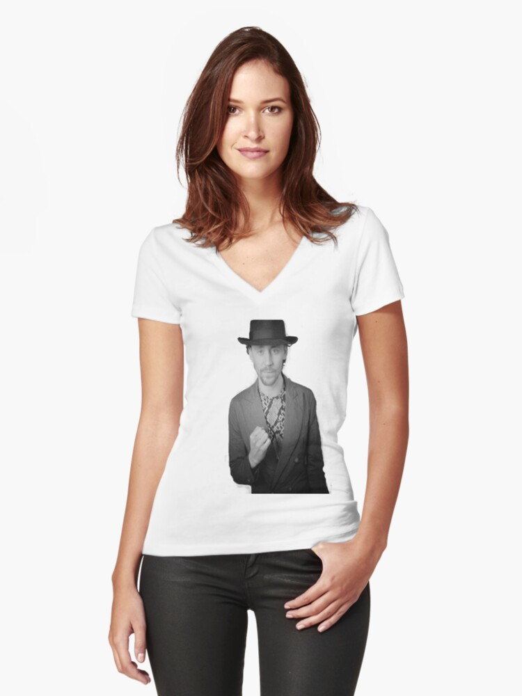 Tom Hiddleston B&W Women's Fitted V-Neck T-Shirt Front