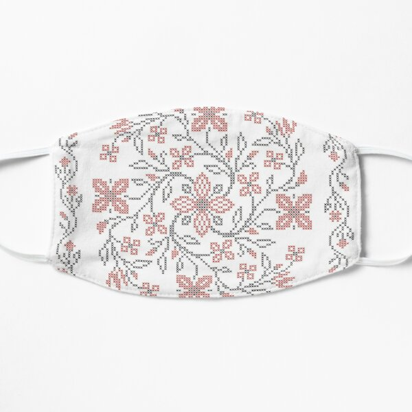 Cross-stitch embroidery in Ukrainian folk style, 05 Flat Mask