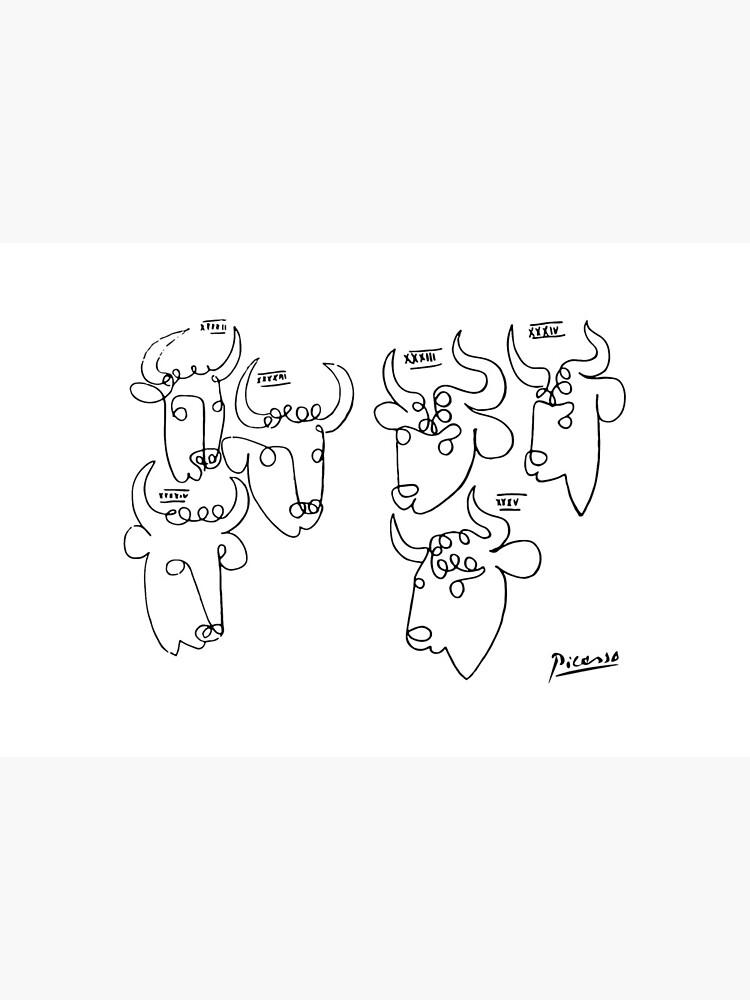 Pablo Picasso Bulls Artwork, Animals Line Sketch, Prints, Posters, Bags, Tshirts, Men, Women, Kids by clothorama