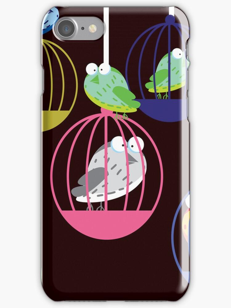 Birds in a cage by vectorwebstore