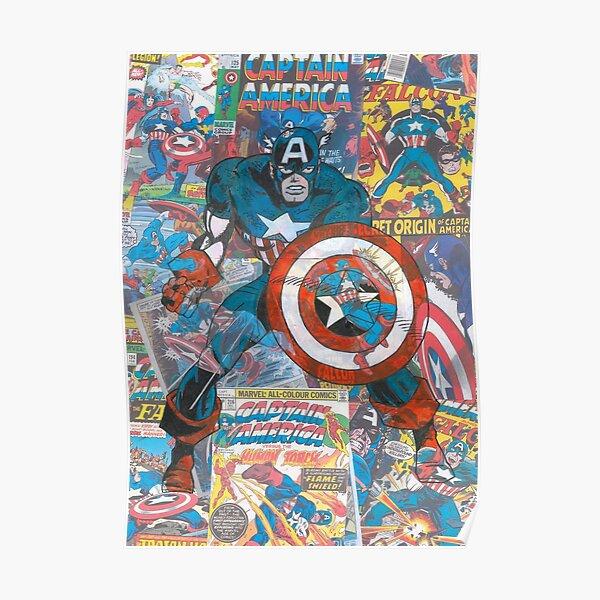 Vintage Comic Capt America Poster