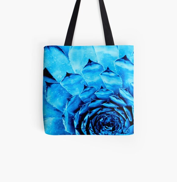 BLUE SERIES Succulent textures close-up All Over Print Tote Bag
