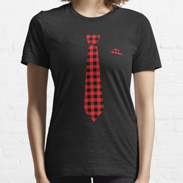 Christmas Holiday Gift for Dad Men - Buffalo Plaid Check Tie Essential T-Shirt