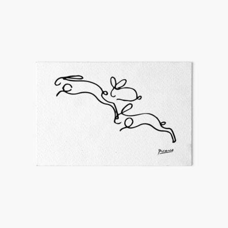 Rabbits Line Drawing, Animals Sketch Artwork, Pablo Picasso, Tshirts, Prints, Posters, Bags, Women, Men, Youth Art Board Print