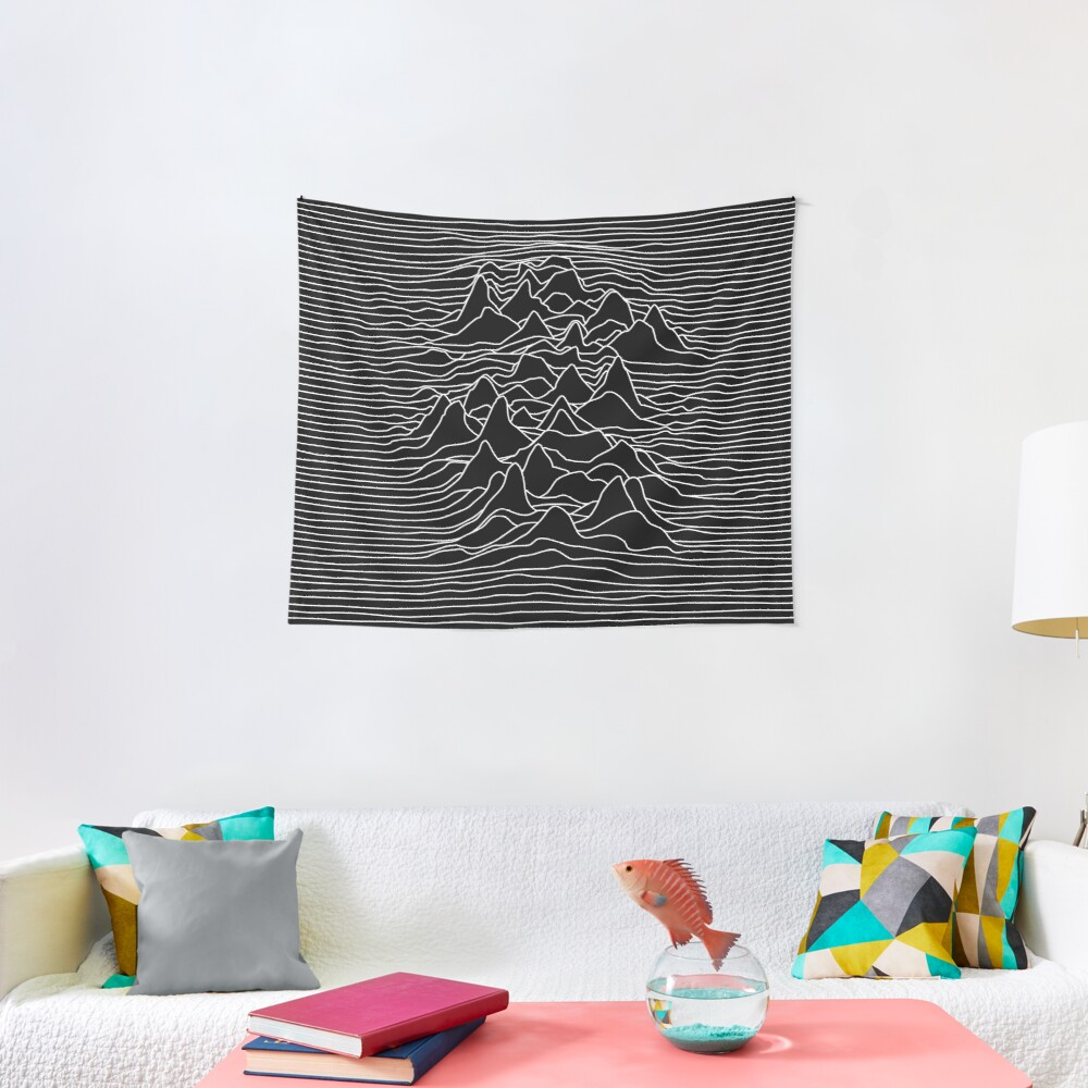 Black and white illustration - sound wave graphic  - black  Tapestry