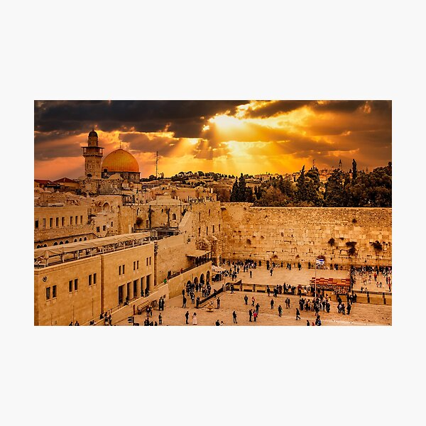 Heavenly Rays at Sunset on the Wailing Wall (Western Wall) Photographic Print