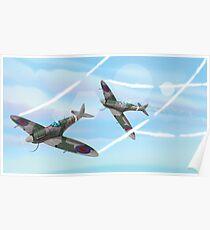 WW2 Vintage British fighter Aircraft Poster