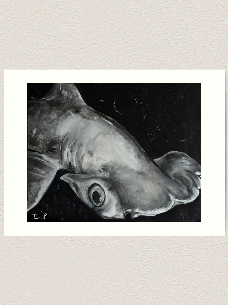 Alternate view of Hammerhead Shark Painting Art Print