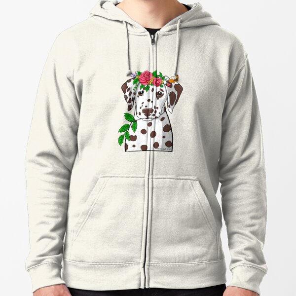 Dalmatian Garden Goddess Zipped Hoodie