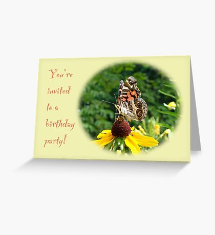 Invitation Birthday Party - American Lady Butterfly Greeting Card