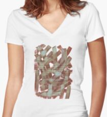 brush type brown Women's Fitted V-Neck T-Shirt