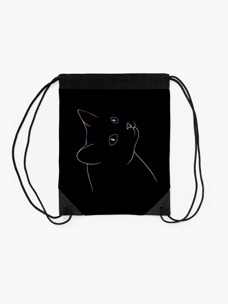 Alternate view of Cat looking over the shoulder Drawstring Bag