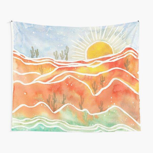 Wüste und Kaktus in Wasserfarben Wandbehang