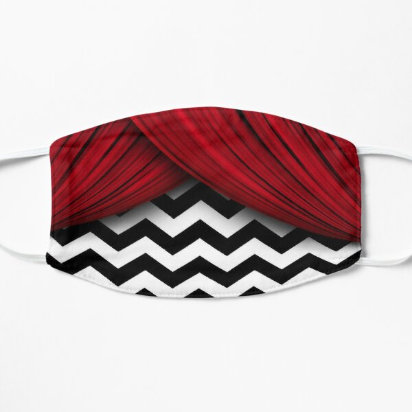 Twin Peaks Red Curtains Black and White Chevron Mask