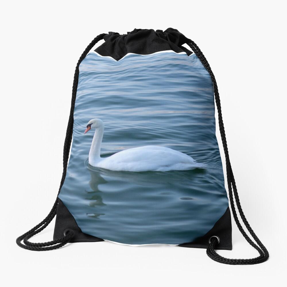 White swan Drawstring Bag