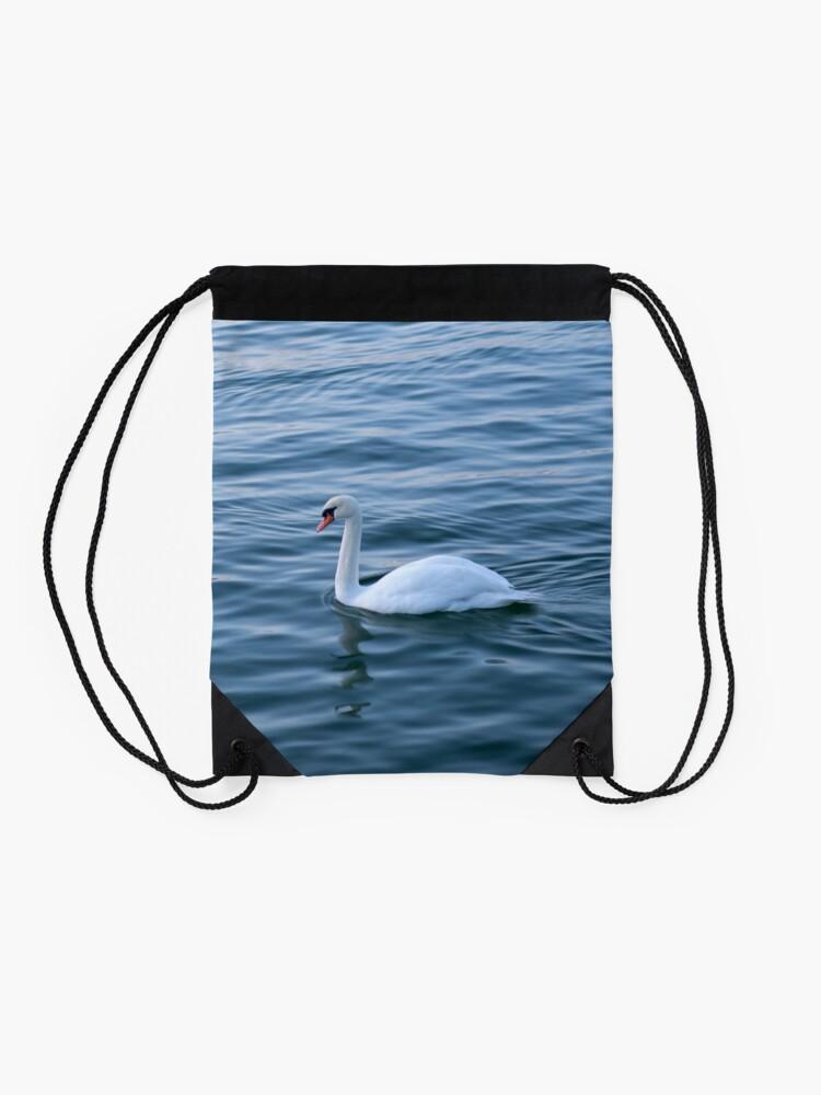 Alternate view of White swan Drawstring Bag