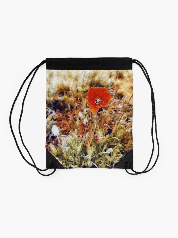 Alternate view of Red poppy Drawstring Bag