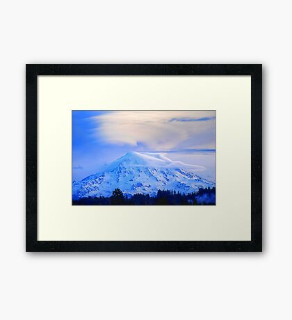 Lenticular Clouds Over Rainier Framed Print