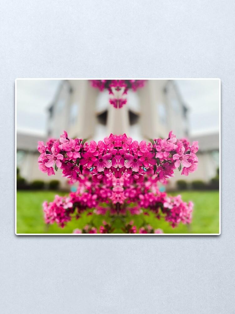 Alternate view of Symmetry of Pink Flowers Metal Print