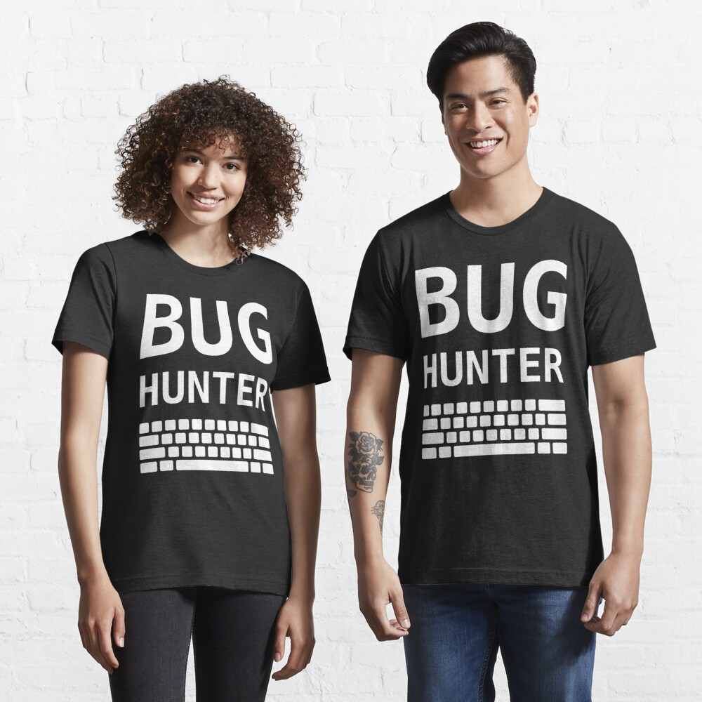 BUG HUNTER with Keyboard - Design for Test Engineers White Font Essential T-Shirt