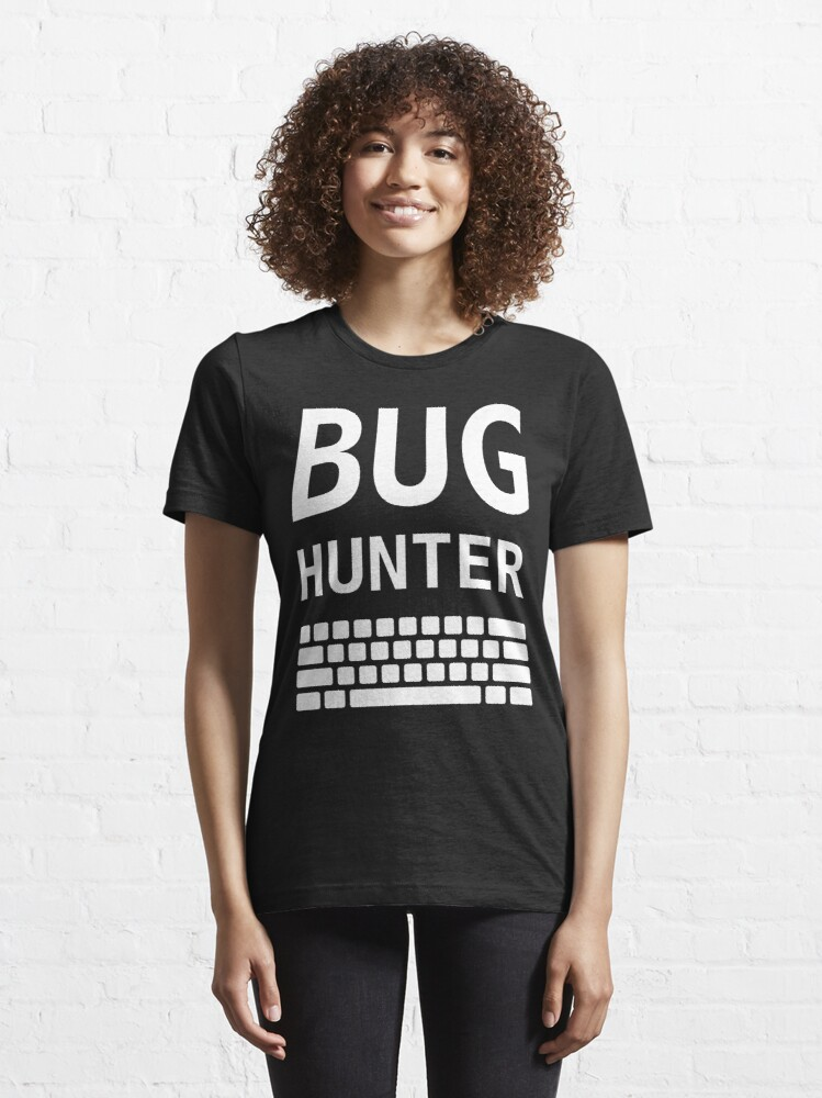 Alternate view of BUG HUNTER with Keyboard - Design for Test Engineers White Font Essential T-Shirt