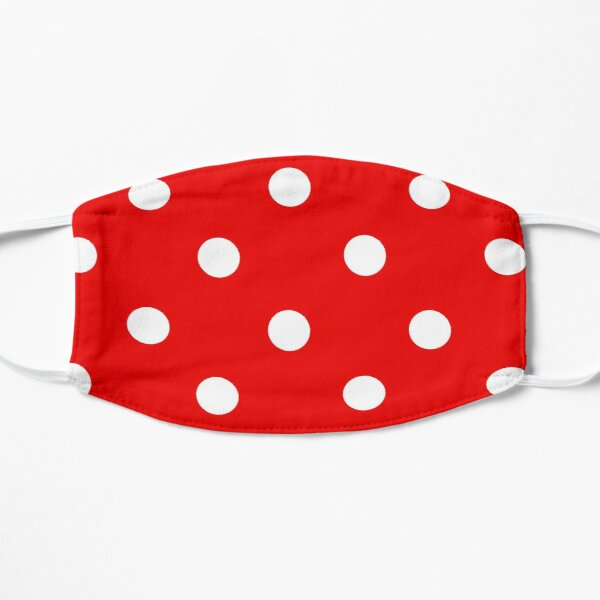 Red and White Polka Dots Flat Mask