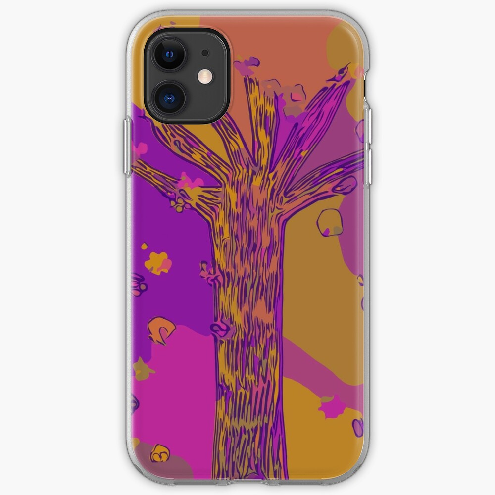 Purple, Magenta, Gold Beautiful Autumn Abstract Fall Tree iPhone Case & Cover