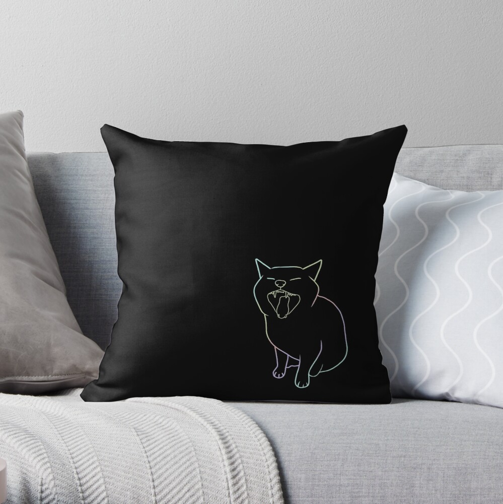 cat screaming colorful  Throw Pillow