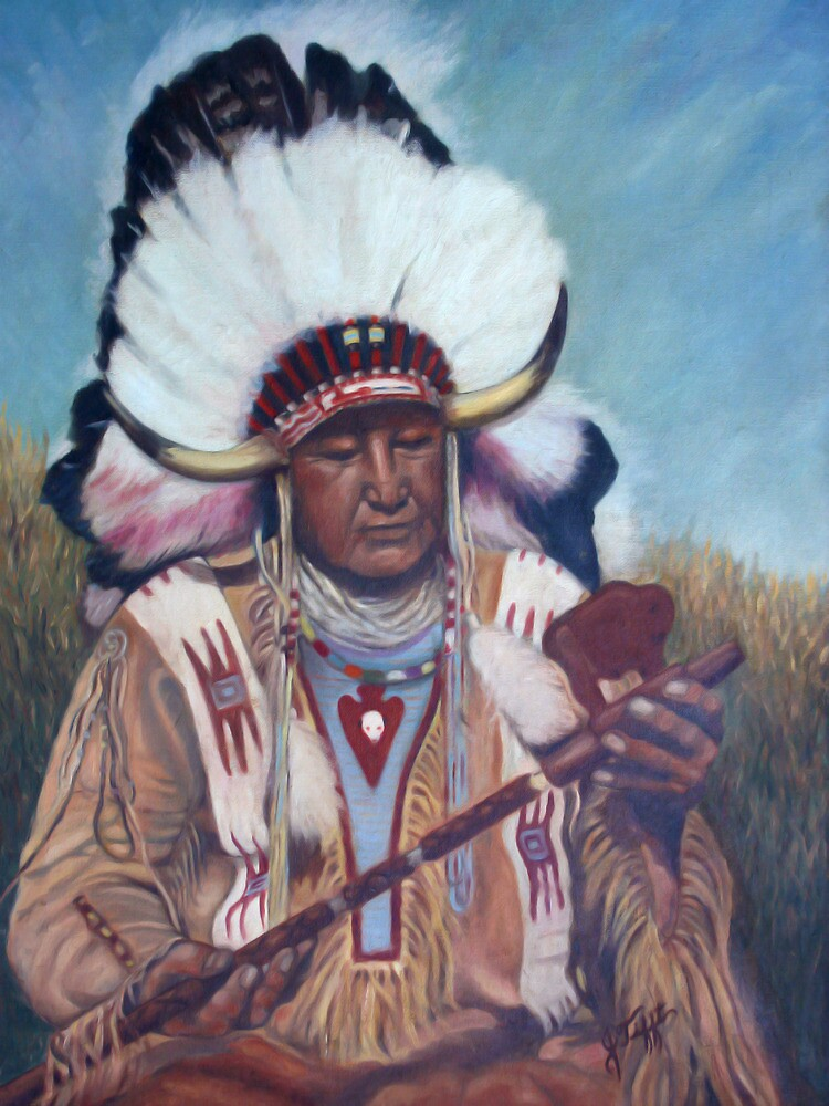 Native American Chief Painting by JamieTifft