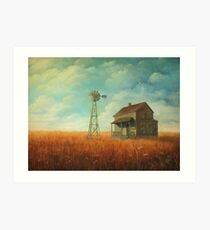Windmill Farm Painting Art Print