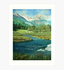 Mountains Lake Landscape Art Print