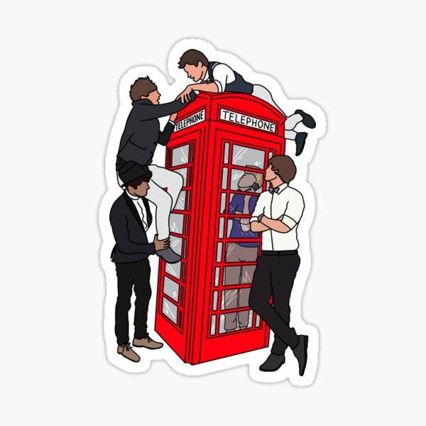 ONE DIRECTION TELEPHONE BOX DRAWING Sticker