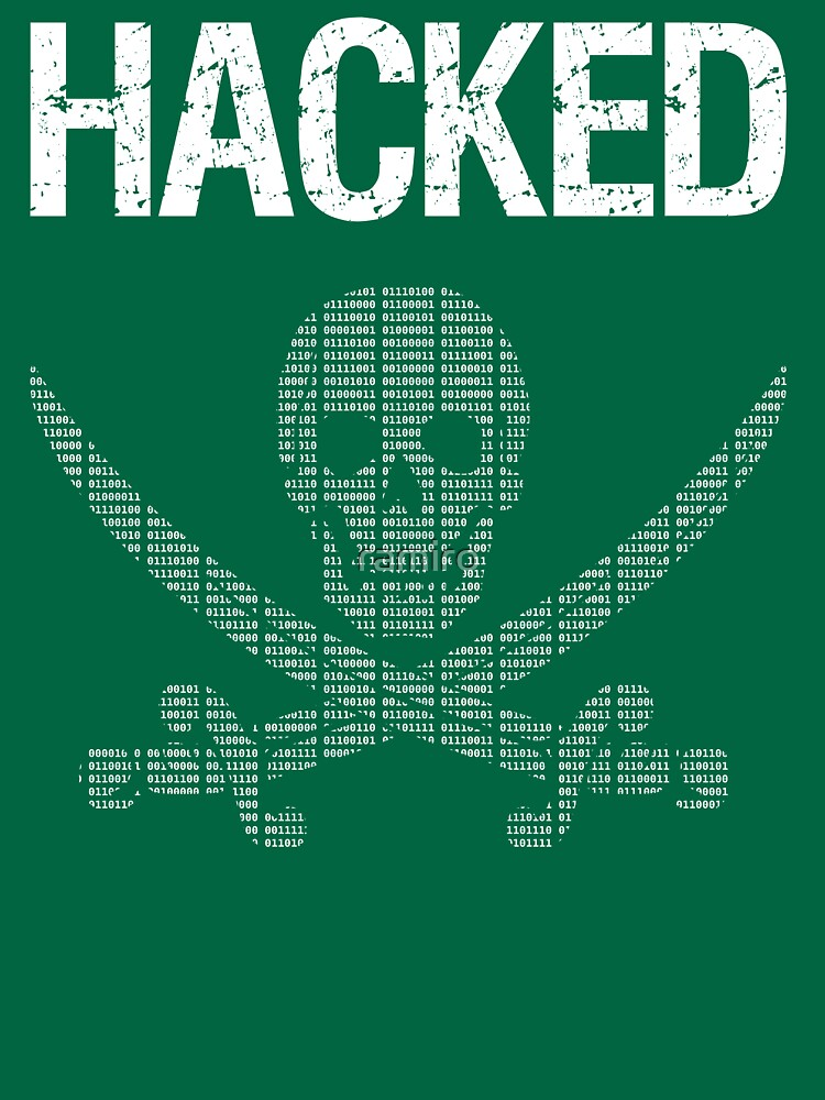 HACKED Pirate Flag - White/Green Design for Computer Hackers by ramiro