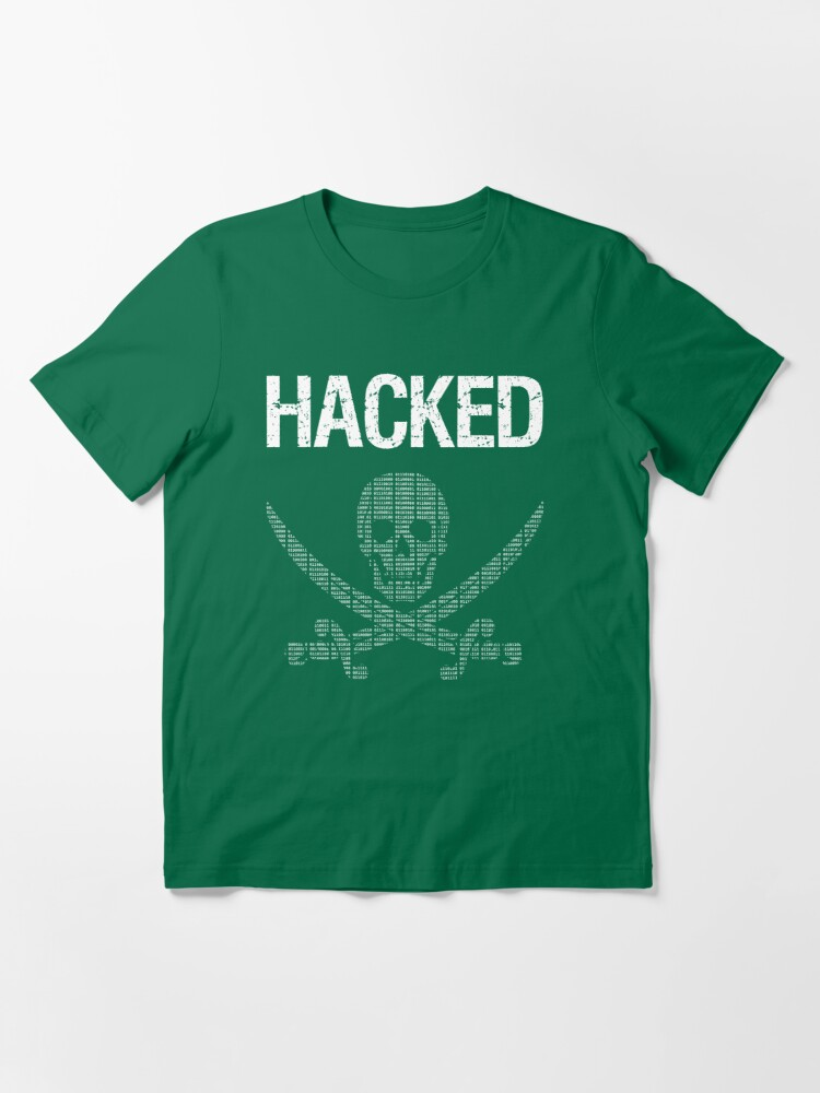 Alternate view of HACKED Pirate Flag - White/Green Design for Computer Hackers Essential T-Shirt