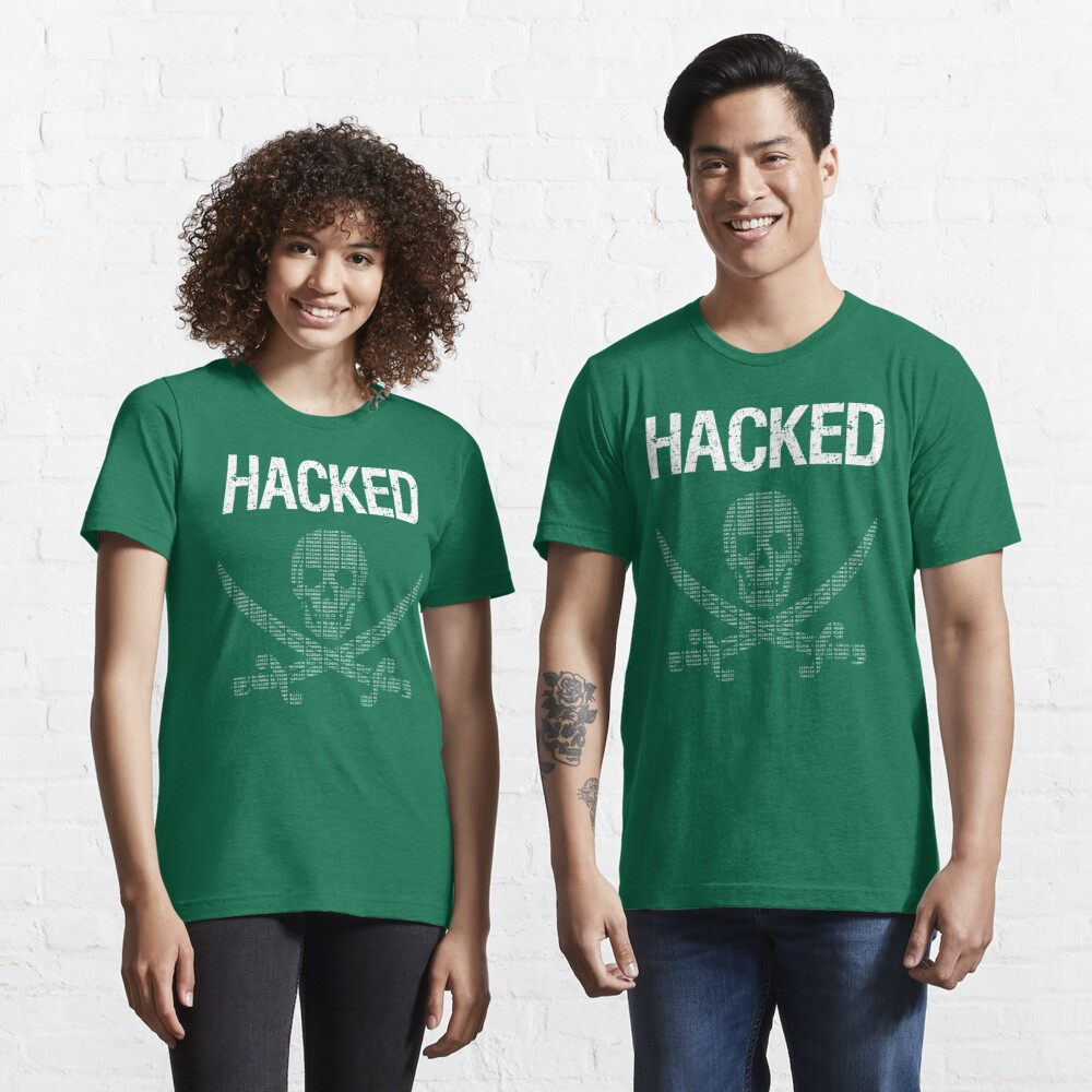 HACKED Pirate Flag - White/Green Design for Computer Hackers Essential T-Shirt