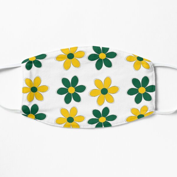 Green and Gold Flowers - School Colors Mask