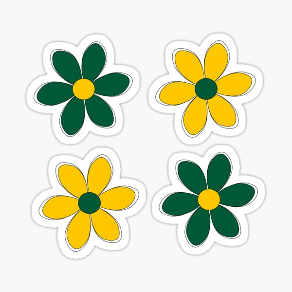 Green and Gold Flowers - School Colors Sticker