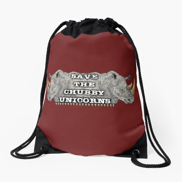 Save the Chubby Unicorns Drawstring Bag