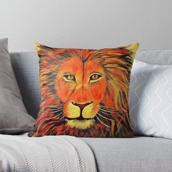 Blazing Lion Throw Pillow