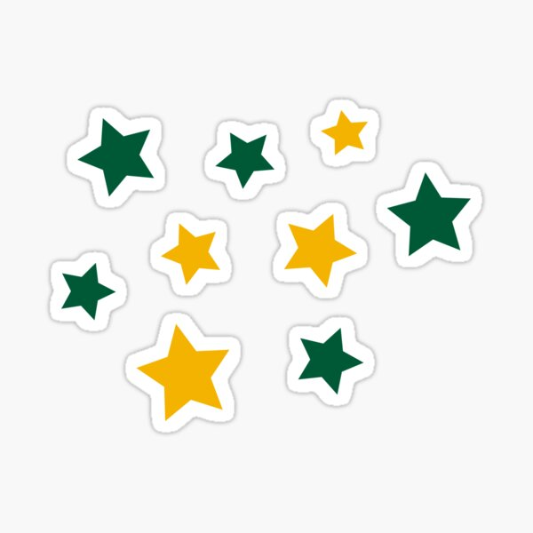 Green and Gold Stars Sticker