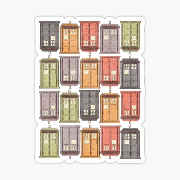 Assorted Police Boxes Sticker