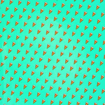 Cool and Trendy Pizza Pattern in Super Acid green / turquoise / blue von badbugs